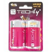 Blister 2 Batterie Power Plus Alcaline Torcia D LR20 1,5V