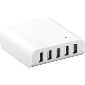 Caricatore 5 USB 8A da Scrivania con Ricarica Intelligente Bianco