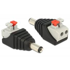Adattatore DC 2.1x5.5mm Maschio Terminal Block 2 pin con Pulsante