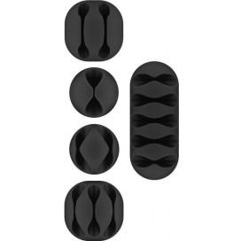 Clip Fermacavo Set da 5 pz Varie Misure Nero