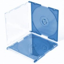 Porta CD Slim Jewel Case Blu Trasparente