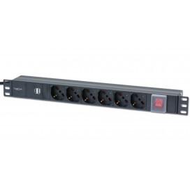 Multipresa per rack 19'' 6 posti con interruttore e 2 prese USB 1 U