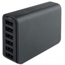 Carica Batterie da Tavolo 6 USB 12A per Smartphone Tablet  Nero
