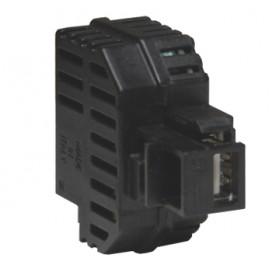Alimentatore USB 2,1A da incasso con aggancio Keystone nero