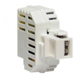 Alimentatore USB 2,1A da incasso con aggancio Keystone bianco