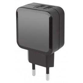 Caricatore 2 USB 2,1A Compatto Spina Europea 2 pin Nero