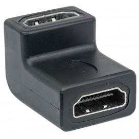 Adattatore HDMI A Femmina / A Femmina Angolato Nero