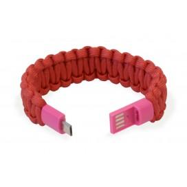 Bracciale Paracord con Micro USB Rosso